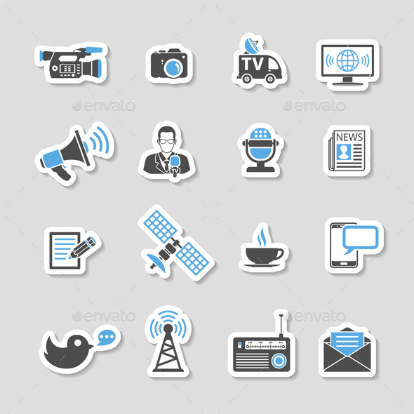 GraphicRiver Media and News Icons Sticker Set 10609061