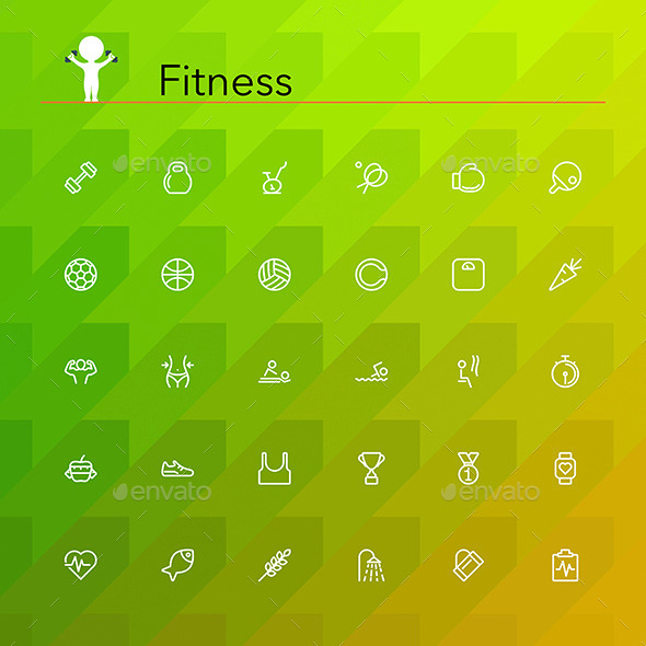 GraphicRiver Fitness Line Icons 10609485
