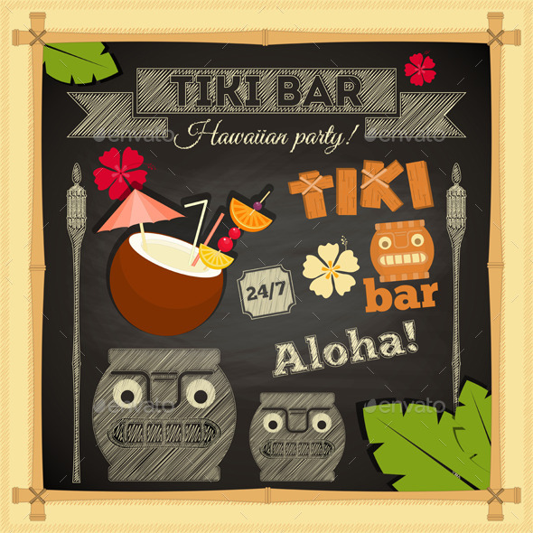 GraphicRiver Tiki Bar Hawaii Chalkboard 10610183