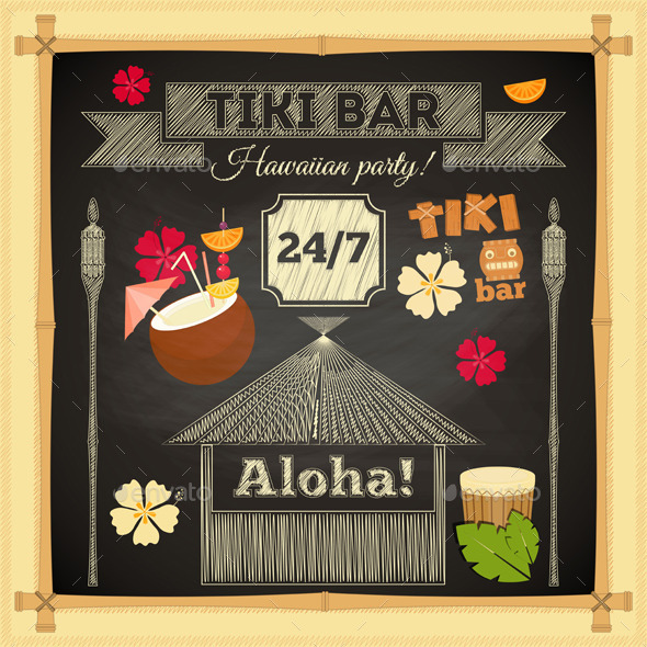 GraphicRiver Tiki Bar Hawaii Chalkboard 10610398