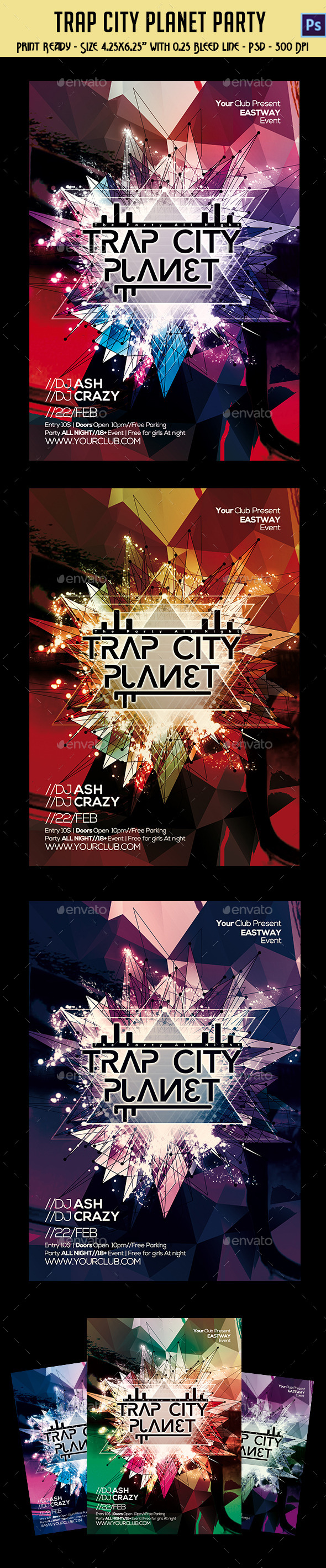 GraphicRiver Trap City Planet Party Template 10610837