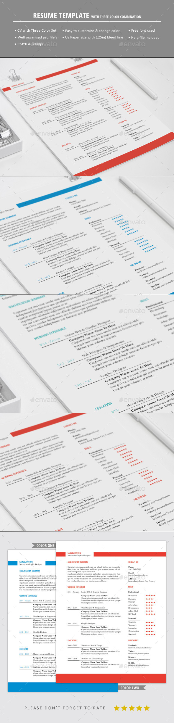 GraphicRiver Simple Resume Template 10611544