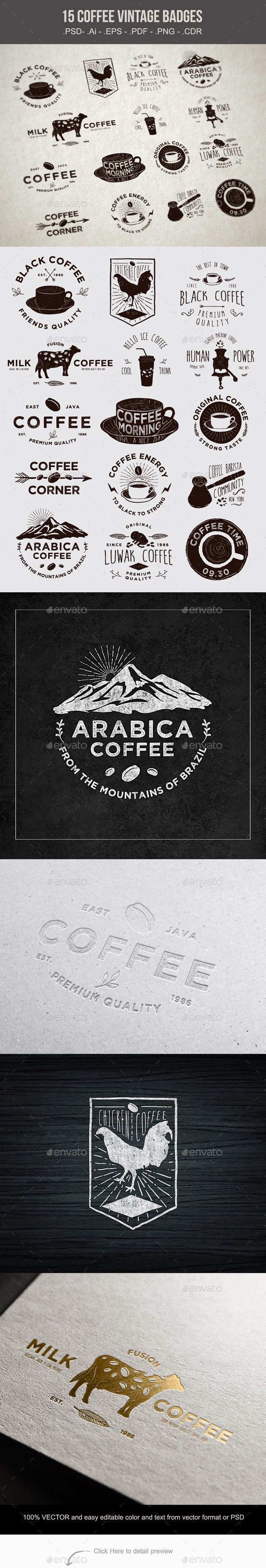 GraphicRiver 15 Coffee Vintage Badges 10611993