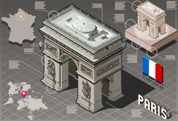 GraphicRiver Isometric Infographic Arc de Triomphe in Paris 10612362