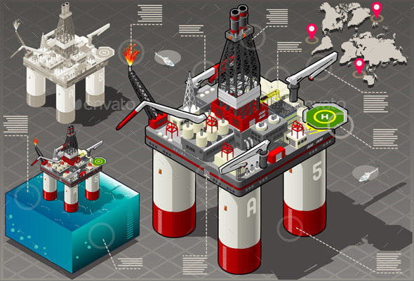 GraphicRiver Isometric Infographic Rig Energy Set 10612372