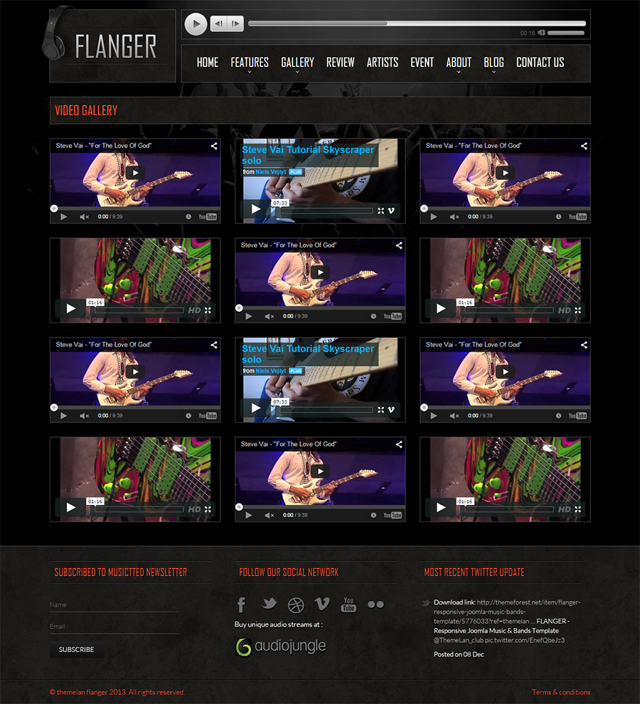 html5 video player template - flanger responsive html5 music band template by