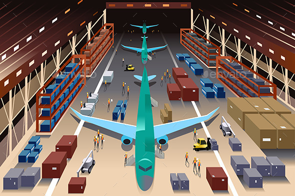 GraphicRiver Workers in an Airplane Factory 10612899