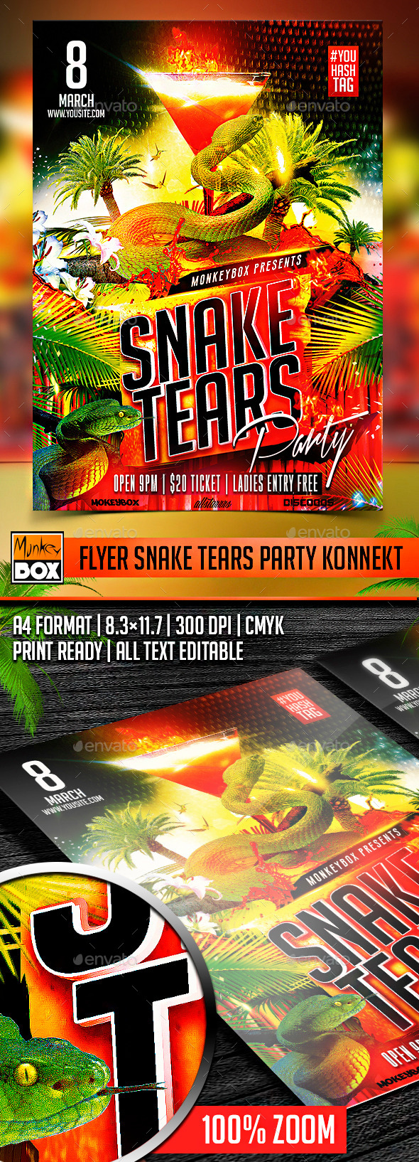 GraphicRiver Flyer Snake Tears Party Konnekt 10612979