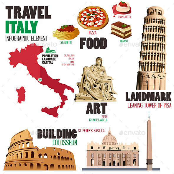 GraphicRiver Infographic Elements for Traveling to Italy 10613085