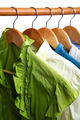 Fashion clothing on hangers at the show. - PhotoDune Item for Sale