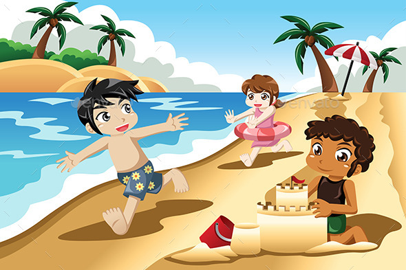 GraphicRiver Kids Playing on the Beach 10614376