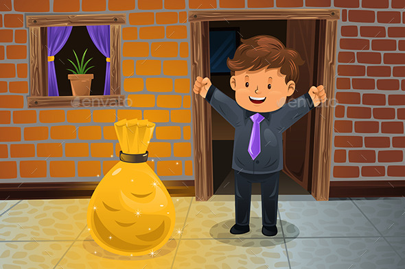 GraphicRiver Man Finding a Bag of Money 10614430