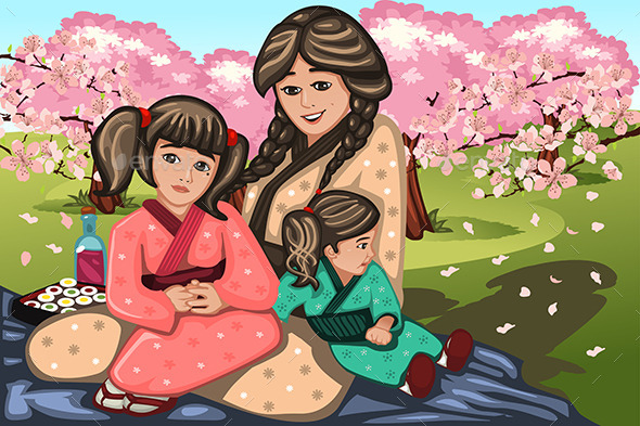 GraphicRiver Japanese Woman and Her Children 10614638