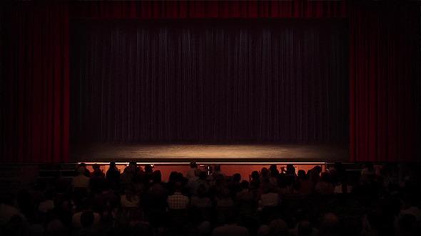 Crowd Applauds Theatre Empty Stage