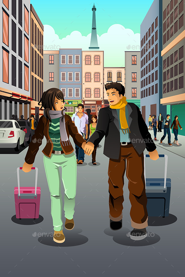 GraphicRiver Couple Traveling Together 10615405