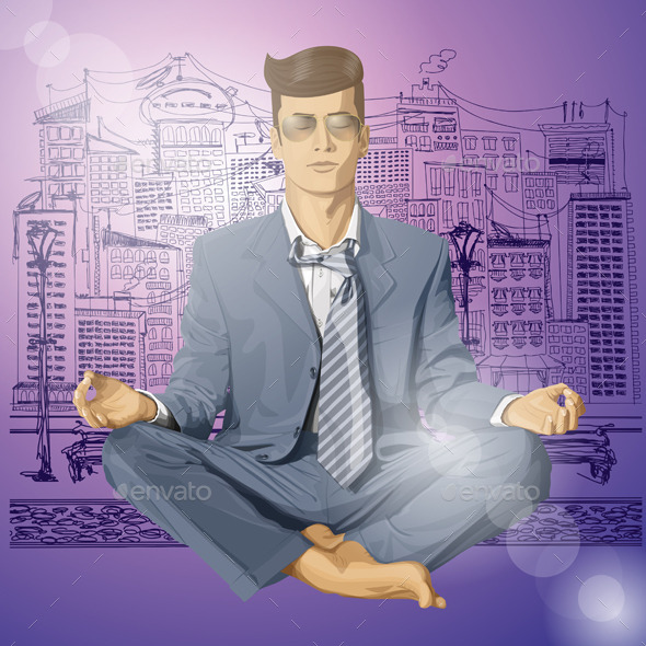 GraphicRiver Hipster Businessman in Lotus Pose Meditating 10615619