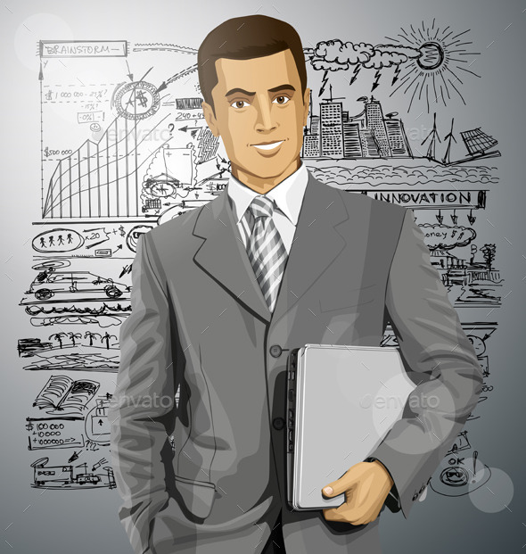 GraphicRiver Vector Businessman With Laptop 10615623