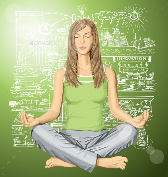 GraphicRiver Woman Meditating in Lotus Pose 10615633