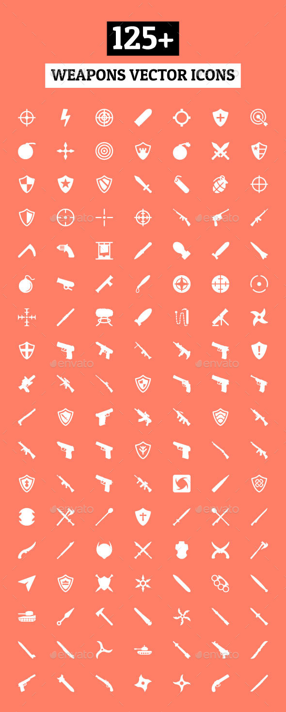 GraphicRiver 125& Weapons Vector Icons 10615868