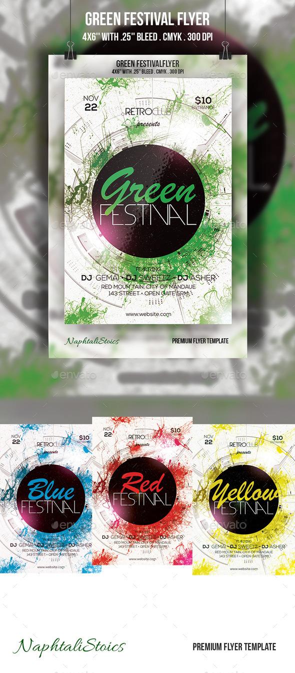 GraphicRiver Retro Green Festival Flyer 10615916