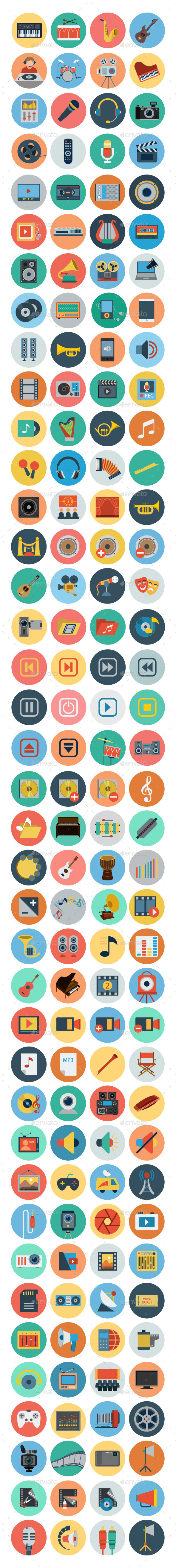 GraphicRiver 150& Multimedia Flat Icons 10615922