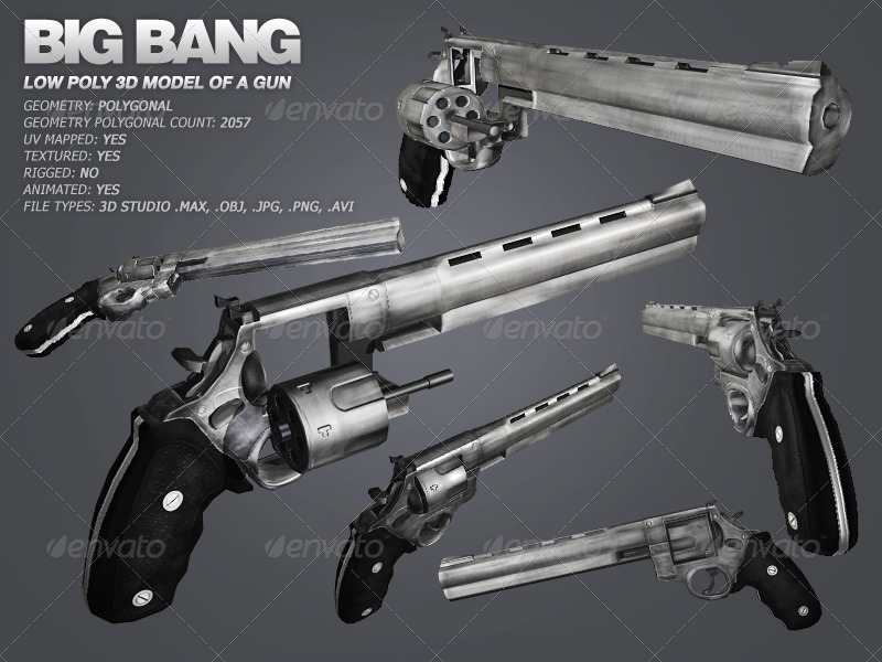 Big Bang low poly model of a gun