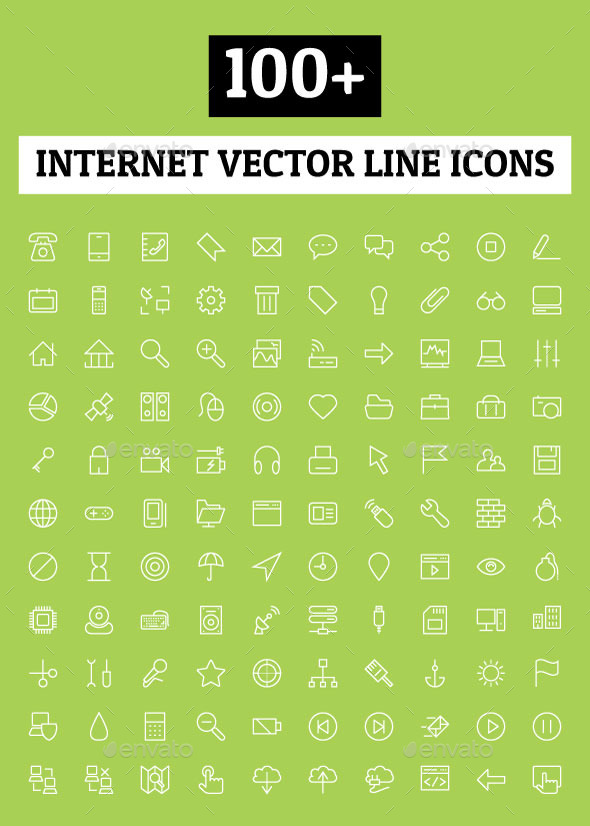 GraphicRiver 100& Internet Vector Line Icons 10616057