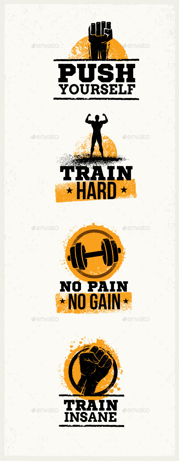 GraphicRiver Gym Workout Grunge Motivation Quotes 10616166
