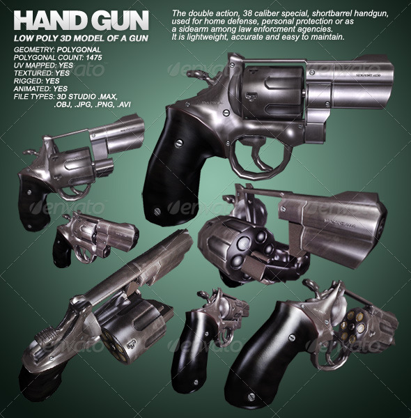Hand Gun lowpoly 3D model of a gun 3ds max