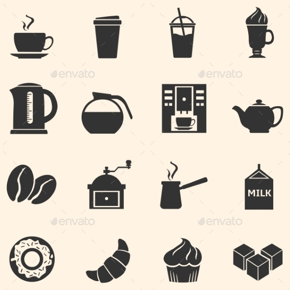 GraphicRiver Vector Set of Coffee Icons Icons for Coffee Shop 10617320