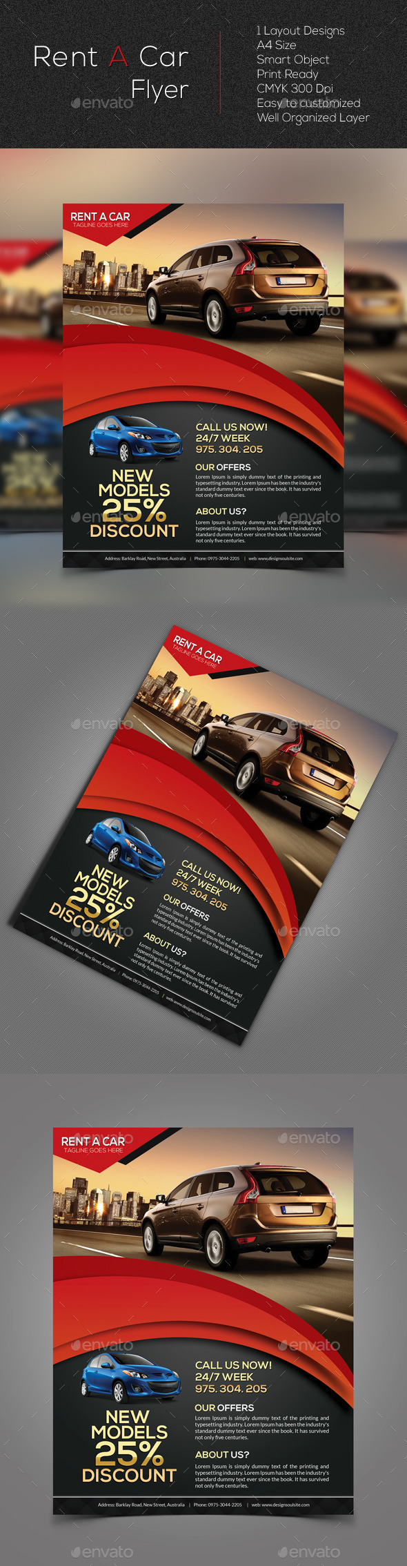 GraphicRiver Rent A Car Flyer 10617342