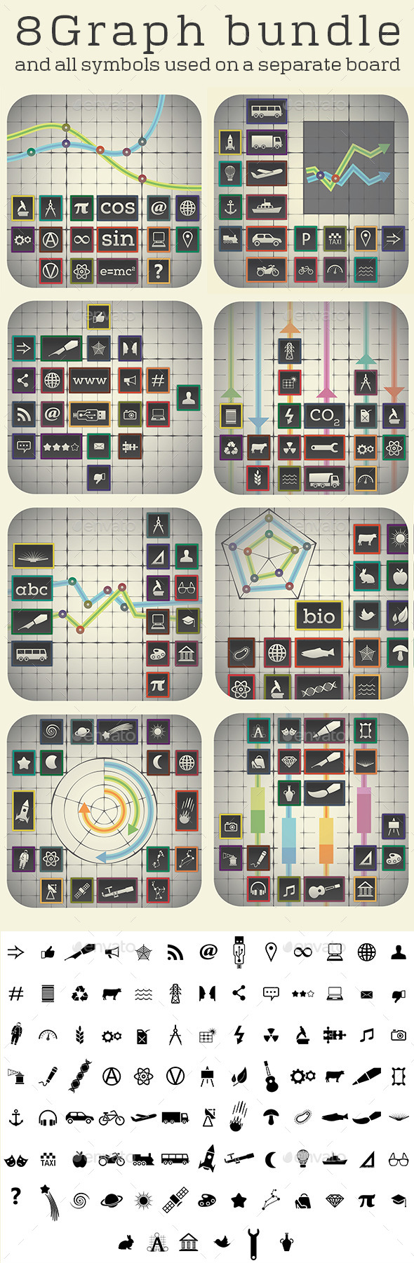 GraphicRiver 8 Graph Boards and 97 Icons 10617344