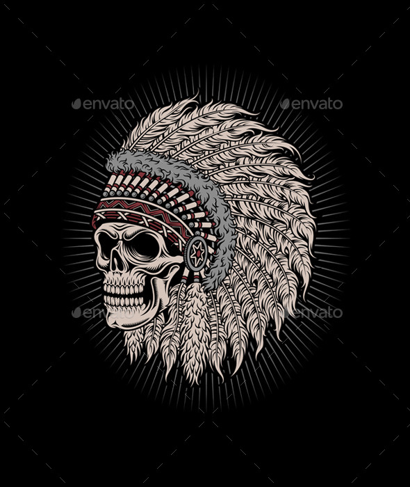 GraphicRiver Native American Indian Chief Skull 10617371