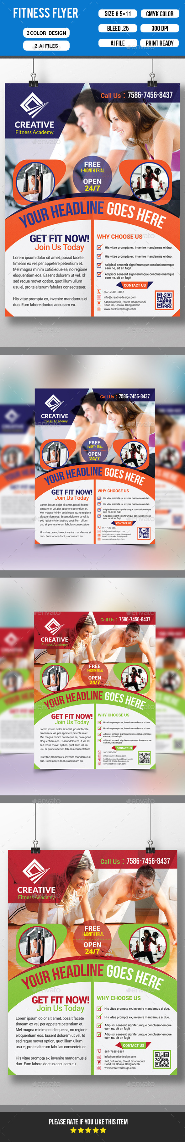 GraphicRiver Fitness Flyer Gym Flyer Template 10617447