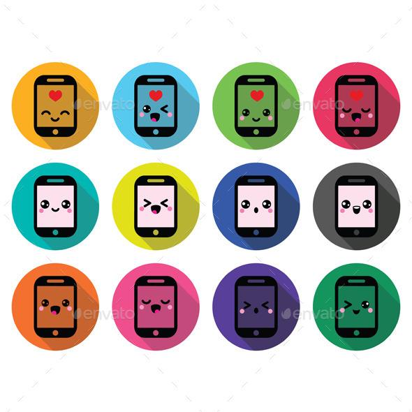 GraphicRiver Japanese Kawaii Character Mobile Cellphone 10617671