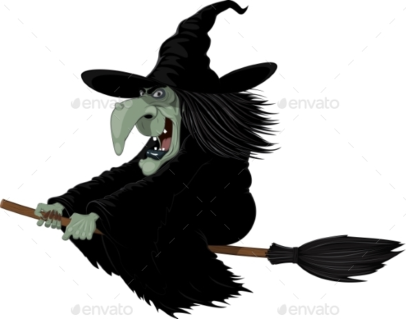 GraphicRiver Witch on a Broomstick 10617769