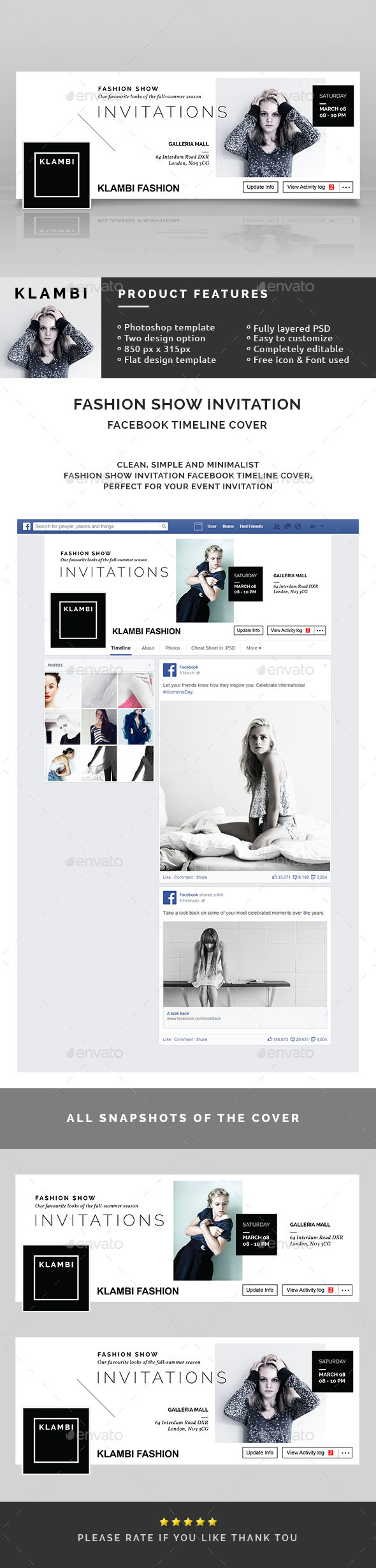 GraphicRiver Fashion Show Invitation Facebook Timeline Covers 10618337