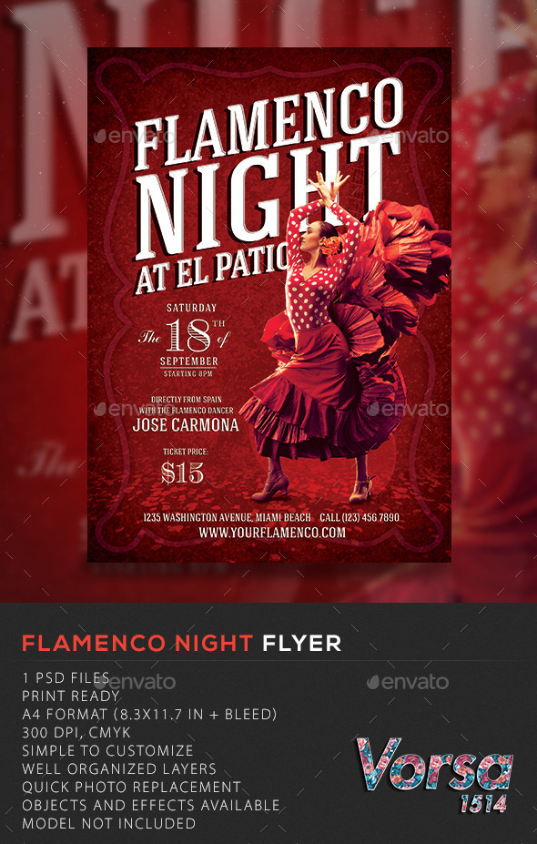GraphicRiver Flamenco Night Flyer 10618362