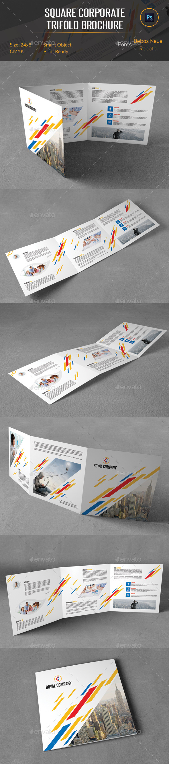 GraphicRiver Square Corporate Trifold Brochure 10618427