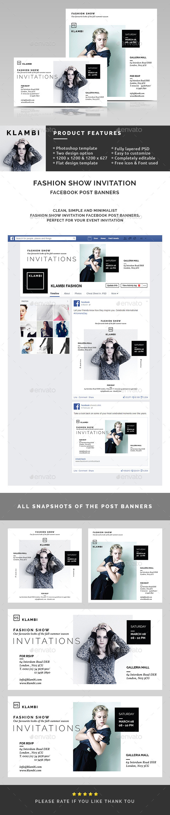 GraphicRiver Fashion Show Invitation Facebook Post Banners 10618439
