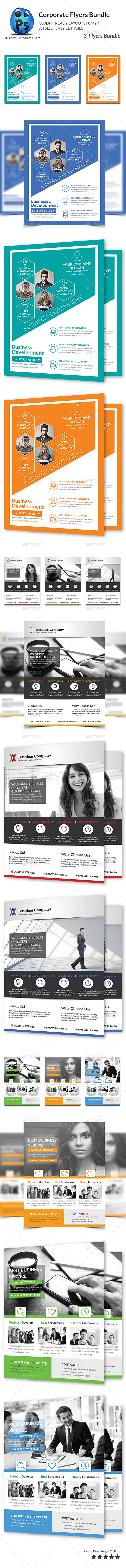 GraphicRiver Corporate Business 3 Flyer Bundle 10618644