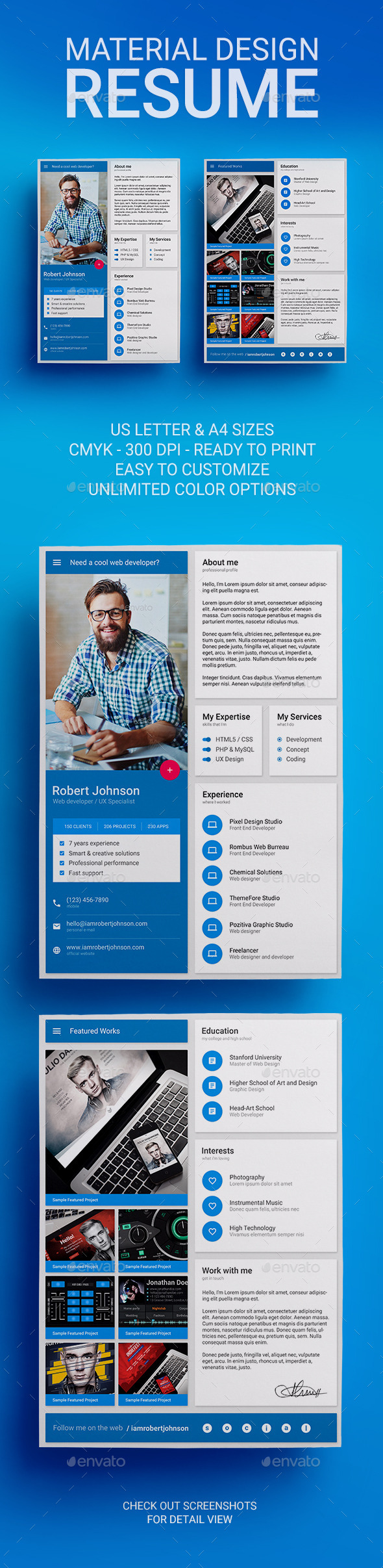 GraphicRiver MaDe Material Design Resume CV Template 10546271