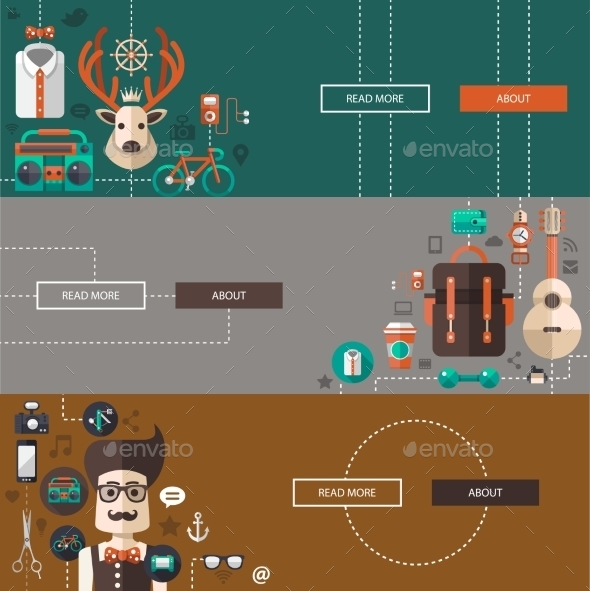 GraphicRiver Set of Modern Hipster Illustrations 10619063