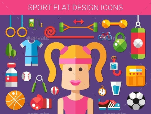 GraphicRiver Set of Modern Sport and Wellness Icons 10619098