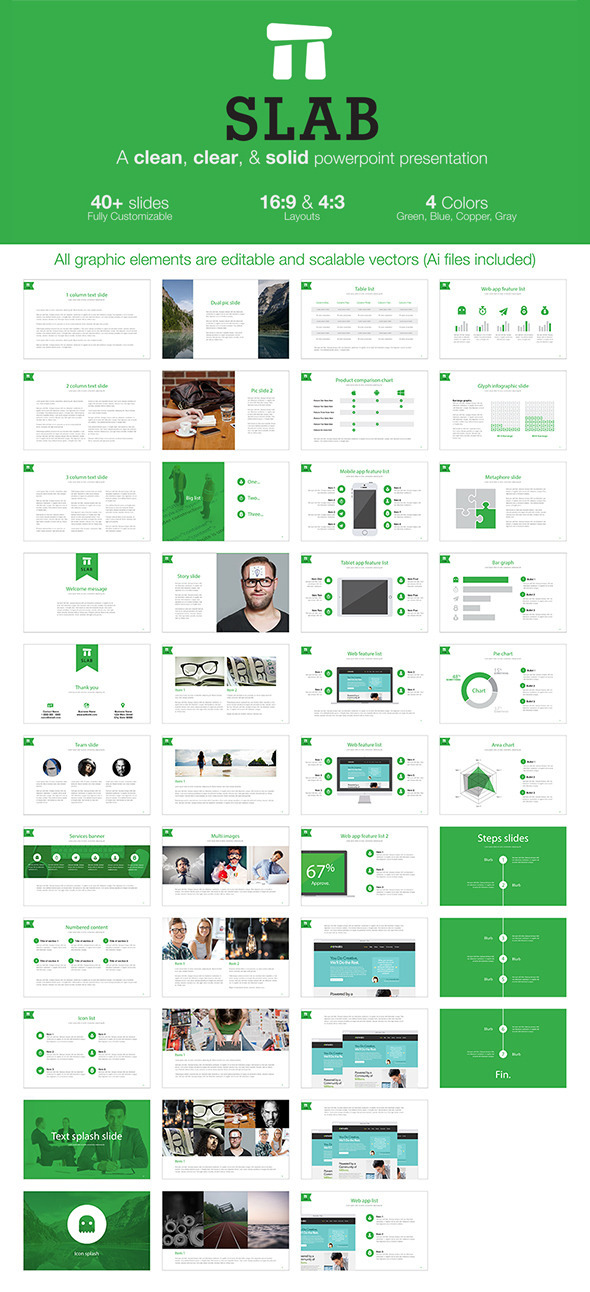 Slab - A clean, clear, & solid powerpoint template (PowerPoint Templates)