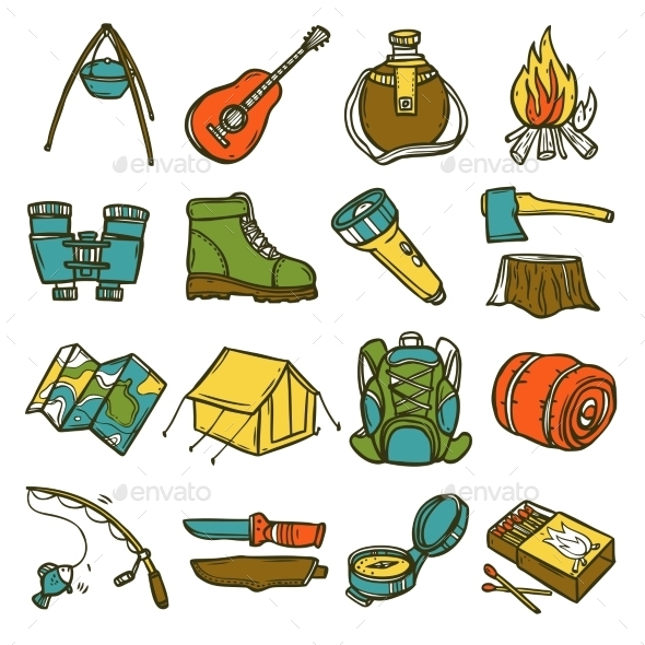 GraphicRiver Camping Icon Set 10619613
