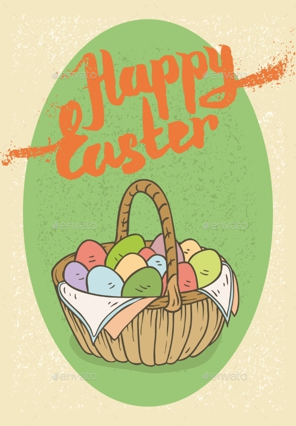 GraphicRiver Happy Easter Postcard 10619629