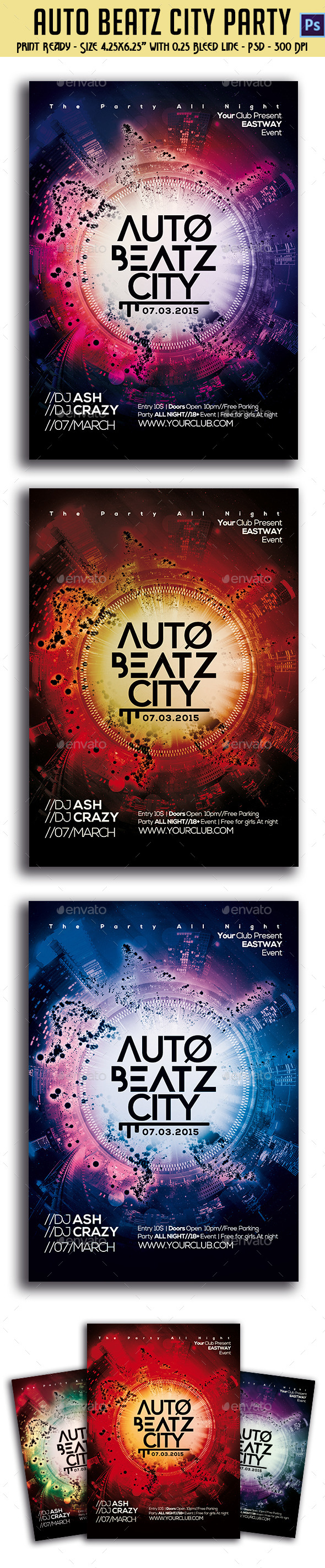 GraphicRiver Auto Beatz City Party Template 10619640