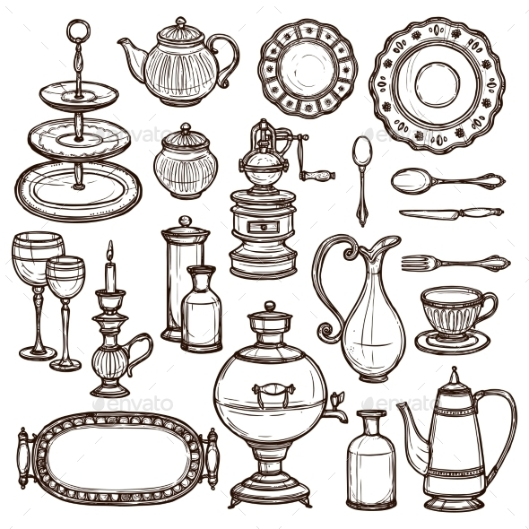 GraphicRiver Dishes Sketches 10620433