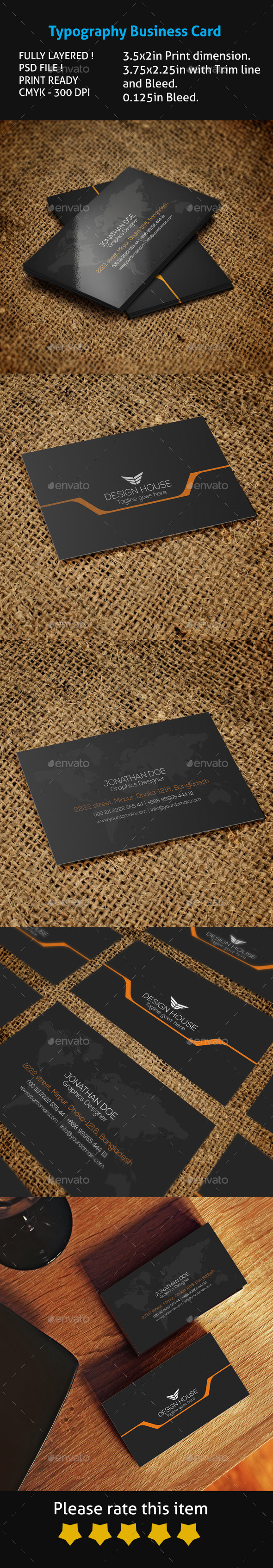 GraphicRiver Typography Business Card 10620434
